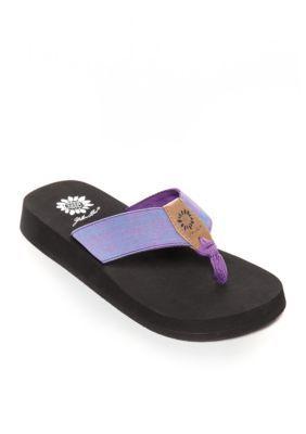 Yellow Box Purple Lavana Platform Flip Flop Sandals
