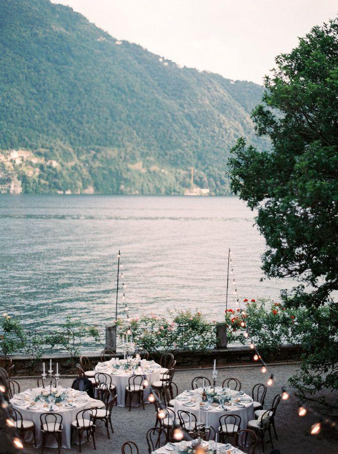 Elegant wedding reception overlooking Lake Como, Italy: http://www.stylemepretty.com/2016/11/23/a-lake-como-wedding-planned-abroad/ Photography: Darya Kamalova - http://www.thecablookfotolab.com/