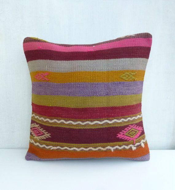 Kilim Throw Pillow with Stripes