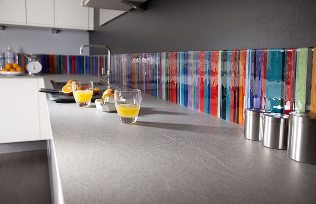 Stripe Multicolour Fused Glass Splashback by Morpheus Glass, via Flickr