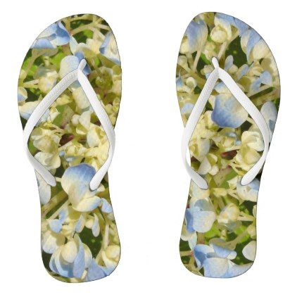 #Blue and creamy white hydrangea flowers photo flip flops - #womens #shoes #womensshoes #custom #cool