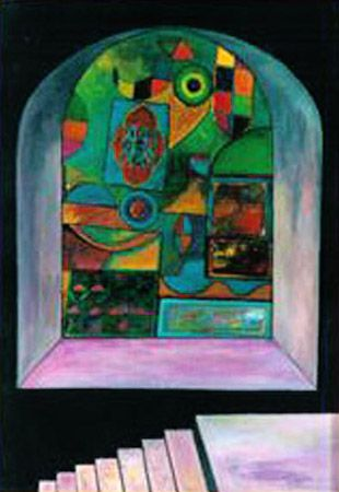 Secret passage to the Louvre, 1982 Acrylic, oil on canvas, 70x50 cm