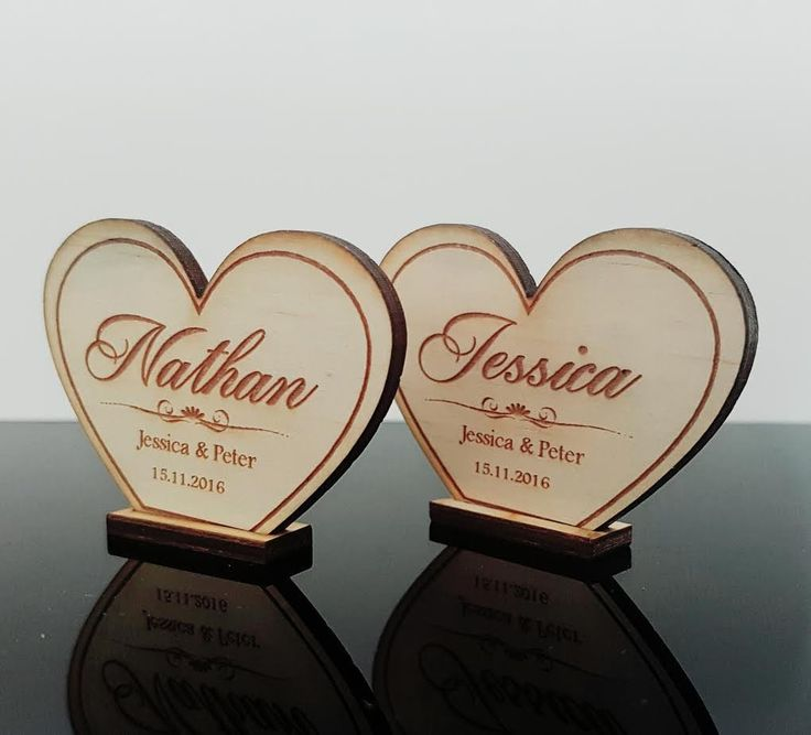 Personalised Timber Wedding Table Cards Heart