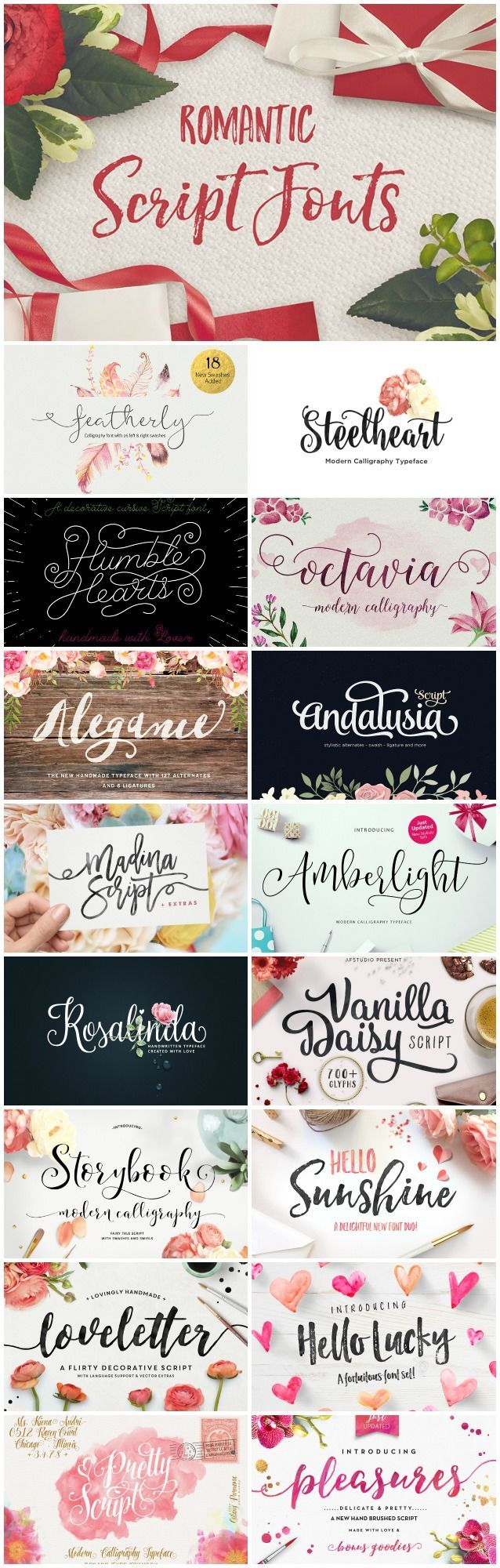 Romantic Fonts: Today I am sharing a gorgeous collection of romantic fonts that CreativeMarket.com put together for all us font enthusiast.. 30 script fonts to be exact and I am just loving every single one! I already own some of these beauties so I cant wait to get my hands on the rest. These fonts are not free BUT you …