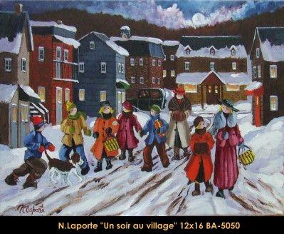 Nicole Laporte original oil painting on canvas #nicolelaporte #art #artist #canadianartist #quebecartist #naiveart #winterscene #villagenight #originalpainting #oilpainting #balcondart #multiartltee