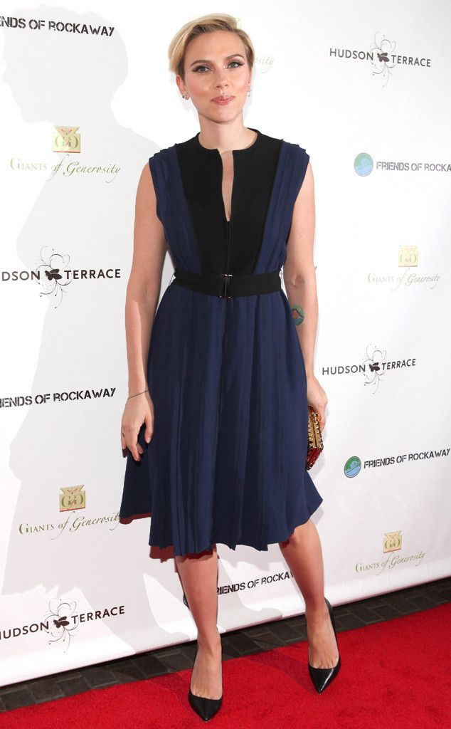 Scarlett Johansson in black and navy silk crepe Proenza Schouler