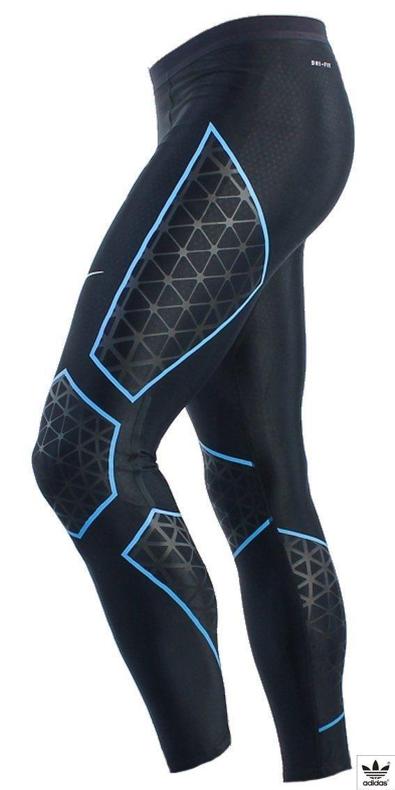 2b740f8e94e02 Nike Womens Dri-Fit Running Tights Leggings Ankle Length Compression Gym  Pants. Size - Large. Black/Blue. (465425-016): Amazon.co.uk: Clothing