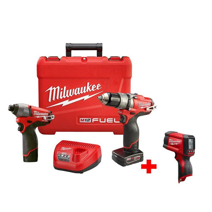Milwaukee M12 Fuel 12-Volt Lithium-Ion 1/2 in. Hammer Drill/Driver and Impact Combo Kit Free M12 Laser Temperature Gun
