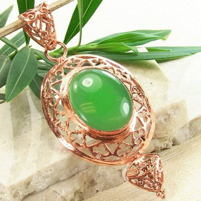 St. Patrick's day green onyx and copper pendant, intricate copper setting, bold and beautiful semiprecious gemstone pendant.  #CopperJewelry #BoldStyle #JewelryPendant #CopperFiligree #copper #CopperPendant #CopperSupplies #gemstone #GemstonePendant #LargePendant