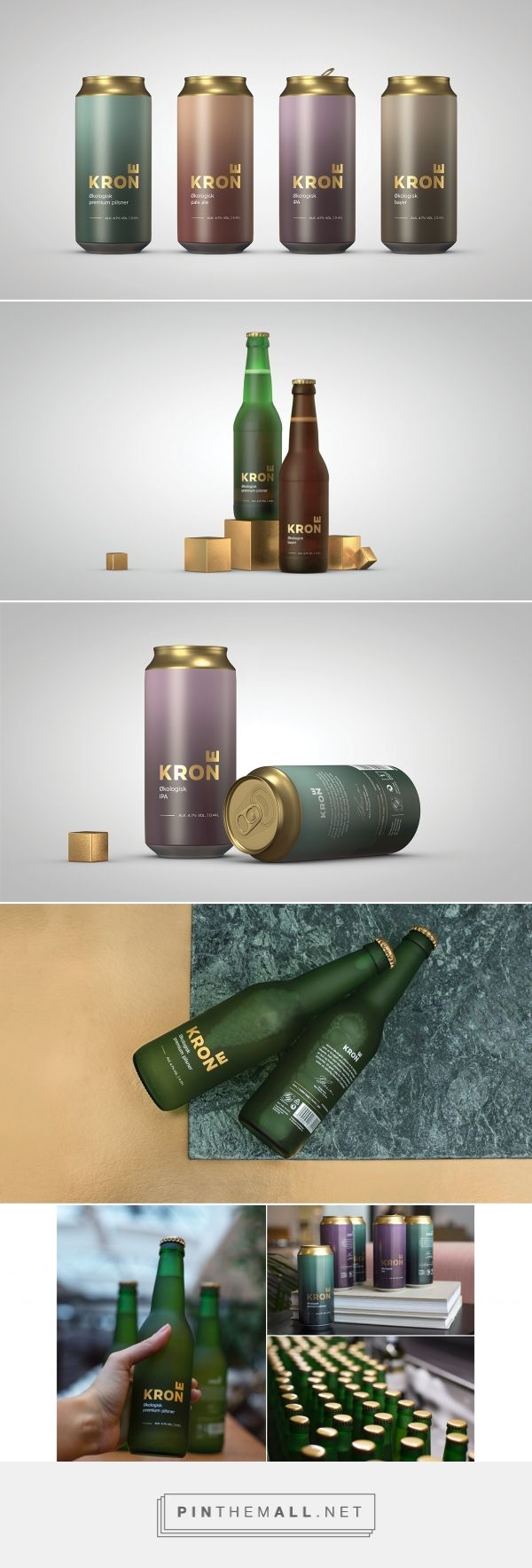 Interesting color and texture treatment. Krone (Crown) Beer by Kristina Nyjordet, Marc Ligeti, Thor Erik Ramlethon, Creuna Norway and Sindre Dahl. Source: Behance. Pin curated by #SFields99 #packaging #design #ideas #inspiration #product #branding #creative #consumer #beer #alcoholic #beverages #bottle #can