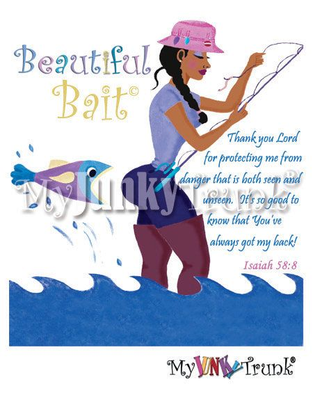 BOGO PRINT SALE Beautiful Bait African American by MyJunkyTrunk