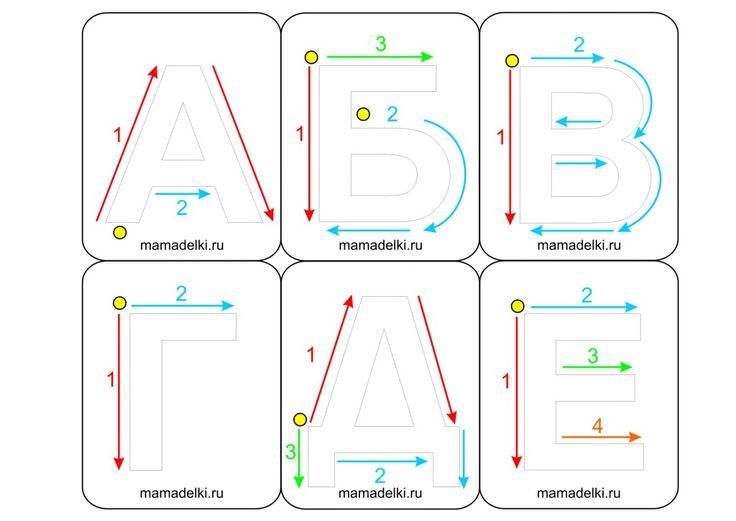 Учусь писать буквы 1 Тактильные карточки с указателями для написания русских букв, бесплатные шаблоны