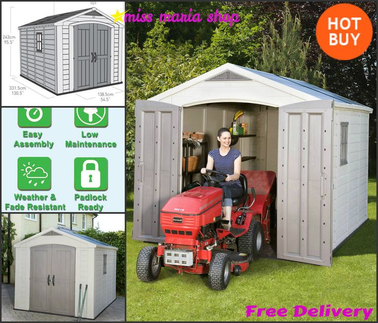 large keter plastic shed 8 x 11ft garden garage storage workshop apex tools wide - Garden Sheds 3ft Wide