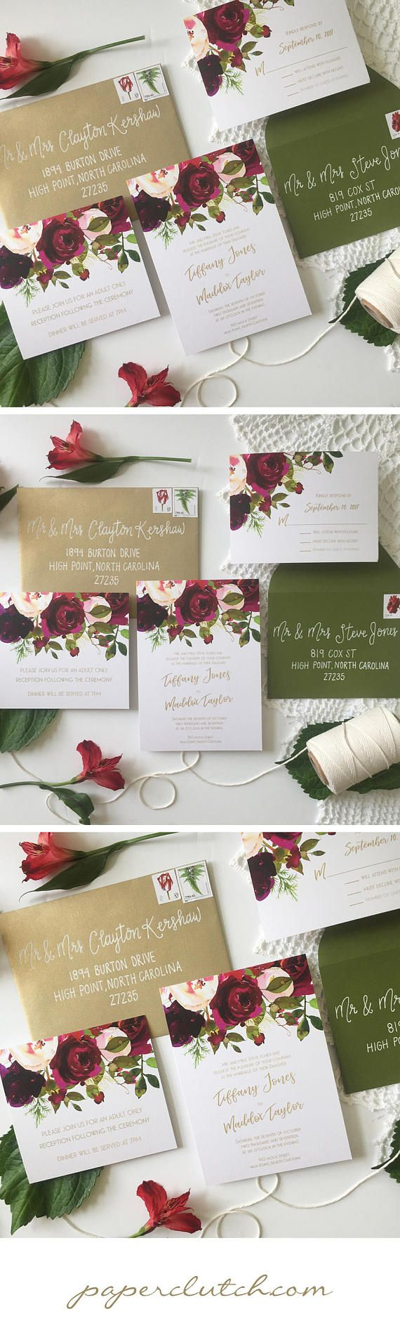 Fall Winter Floral Wedding Invitation Suite Watercolor