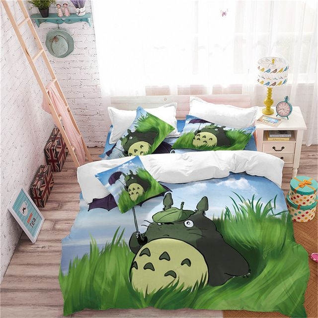 Cute 3d Totoro Bedding Set 4 Varian Bed Kids Duvet Cover Bedding Set