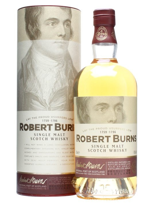 Arran Robert Burns : Buy Online - The Whisky Exchange - A bottling of single malt whisky from the Isle of Arran distillery bottled to honour Scotlands favourite son, the bard himself, Robert Burns. Bottled at 43% and created to be malty and sweet with ...