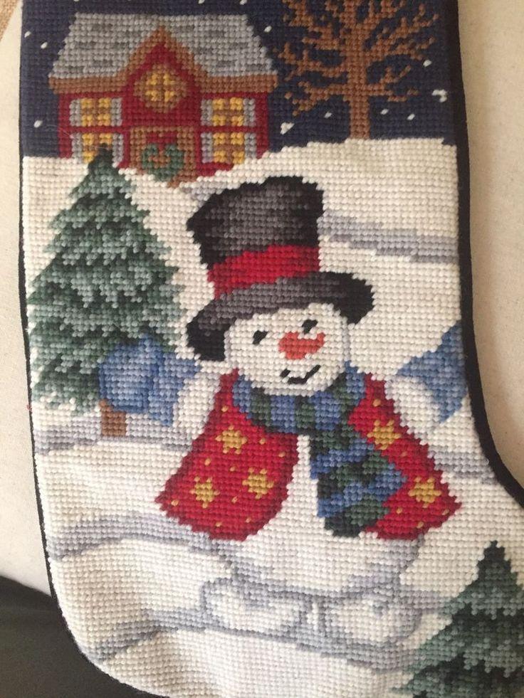 New Handmade Needlepoint Christmas Stocking Happy Snowman ⛄️  | eBay