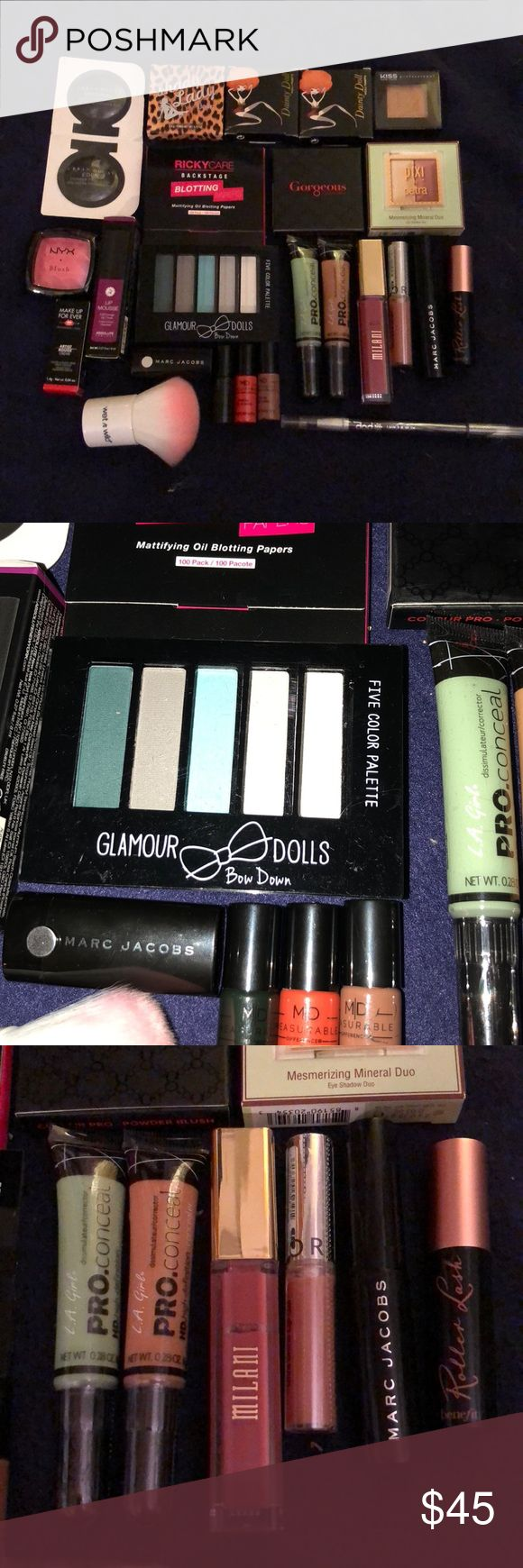 25 piece full size makeup lot bundle benefit Benefit, Marc jacobs, glamour dolls, pop cosmetics, nyx, milani, la girl, absolute ny, urban decay, the balm, pixi by petra, kiss ny. Dainty doll, Ricky care, gorgeous cosmetics, Sephora, makeup forever, measurable difference. Great to buy as a lot and break up for Christmas 🎄 gifts 🎁. Makeup