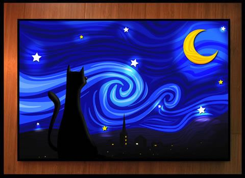 """Mrowwy Night: """"This ode to Vincent Van Gogh was originally a backdrop in the Bobcat's home, but I decided to blow it up and make it a full-sized print."""""""