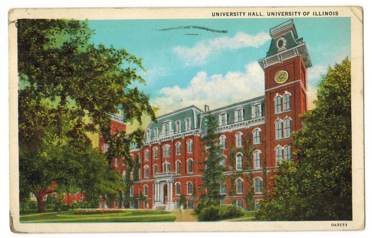 This vintage postcard, circulated in 1931, depicts University Hall at the University of Illinois in Urbana, Illinois. The building was completed in 1871 and was used until 1938, when it was replaced by Gregory Hall and the Illini Union.
