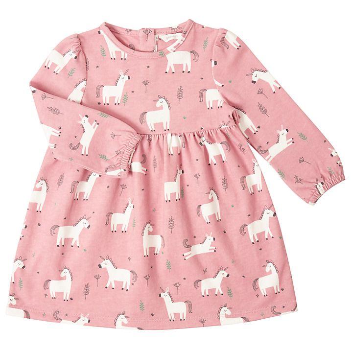 Buy John Lewis Baby Unicorn Print Jersey Dress, Pink, 3-6 months Online at johnlewis.com