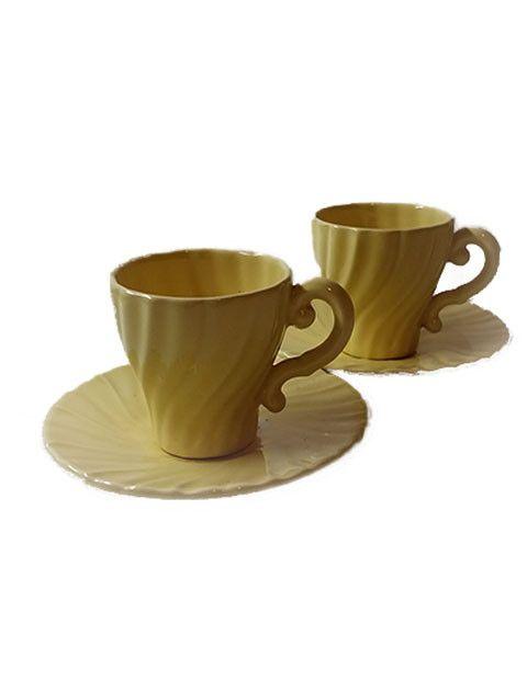 Franciscan Ware Pottery Coronado Satin Demi Cup and Saucer Set S/2