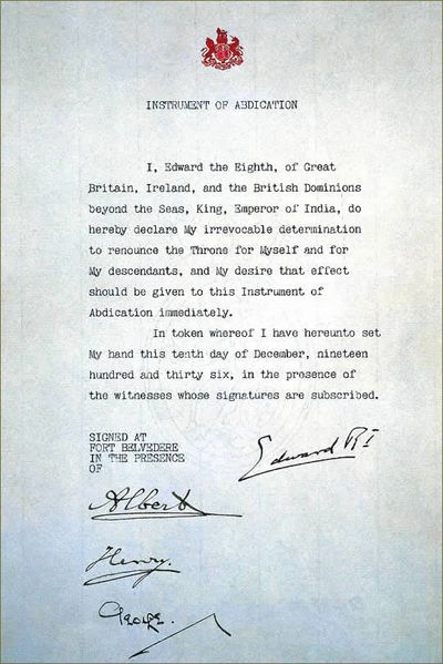 Abdication Document of Edward VIII. he Abdication speech delivered by Edward in December 1936 was written by his ally, Winston Churchill.