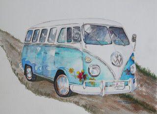 Watercolor of vintage VW hippie van. http://www.louannoverman.blogspot.com