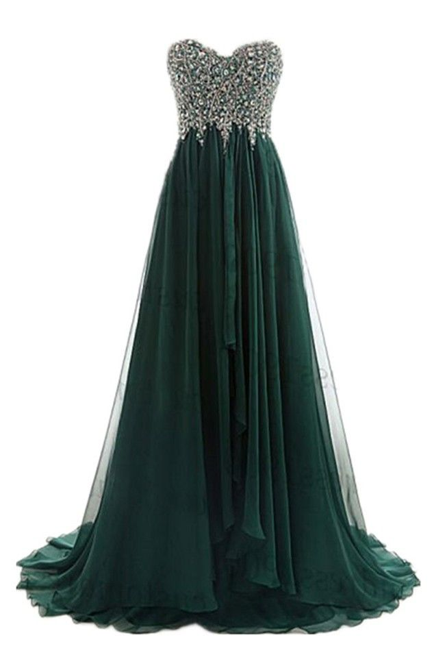 A Line Strapless Sweetheart Long Dark Green Chiffon Beaded Prom Dress