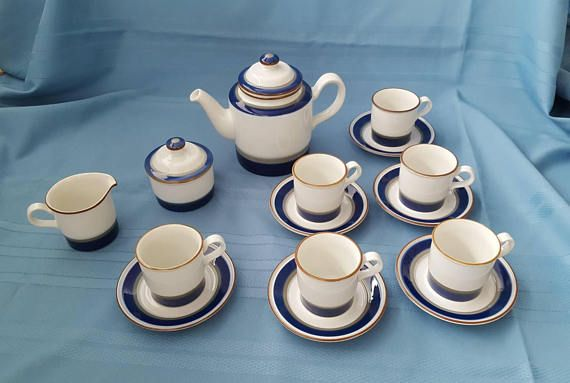 """Vintage Porsgrund Coffee set """"Saga"""" for setting for six from Norway like nearly new. Norwegian Pottery"""