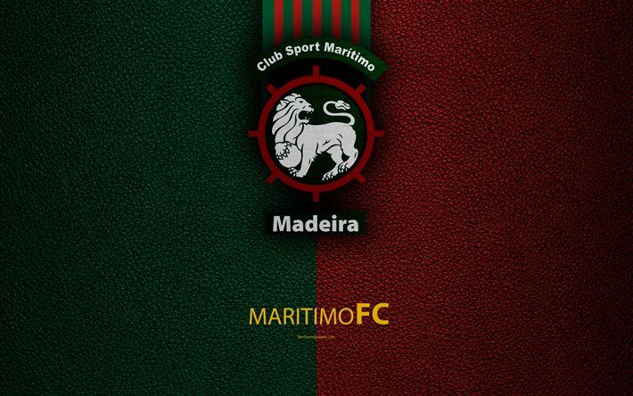 تحميل خلفيات البحرية FC, 4K, جلدية الملمس, الدوري رقم, الدوري الأول, شعار, البحرية الشعار, ماديرا, البرتغال, كرة القدم, بطولة البرتغال لكرة القدم
