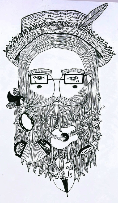 Beardyman Musical Facial Hair by Katie Ruby Illustration