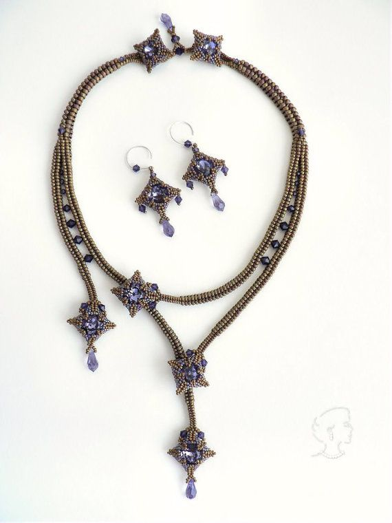 Mokuren Necklace and Earrings - Pattern Only - Direct Download of Digital File (PDF)