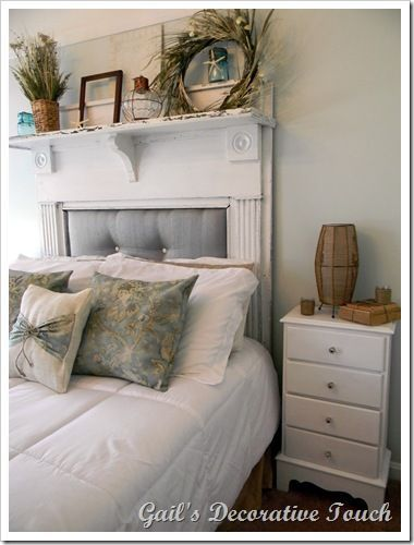 Old fireplace mantels and fireplace mantels on pinterest for Beach house headboard ideas