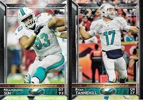 Miami Dolphins 2015 Topps NFL Football Complete Regular Issue 15 Card Team Set Including Ryan Tannehill, Cameron Wake, Ndamukong Suh Plus