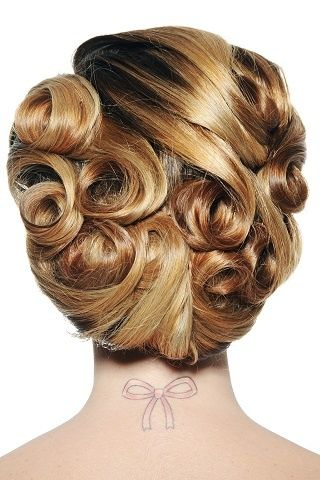 Vintage style updo for medium length hair -love this! It is always ideal to have designs on all sides of the bride. All angles photographed will look amazing.