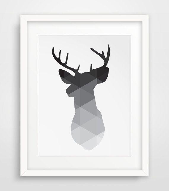 Geometric Purple Deer Wall Art Print Modern Poster Buck: Black Deer Head Print, Deer Antlers Wall Art, Geometric