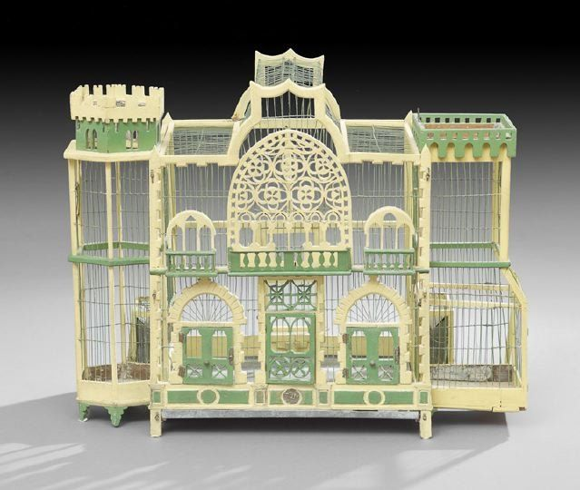 Victorian Polychrome Birdcage, late 19th century, in the form of a fanciful mansion, very unique