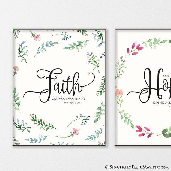 Religious Home Decor Floral Faith III Canvas Wall Art Print