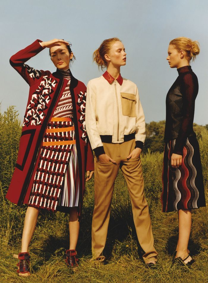 So in love with that outfit on the left || 'Young Guns' by Jamie Hawkesworth for Vogue US October 2014