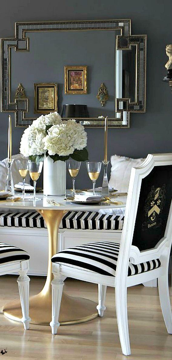 Luxurious black, white and gold kitchen. Home decor inspiration