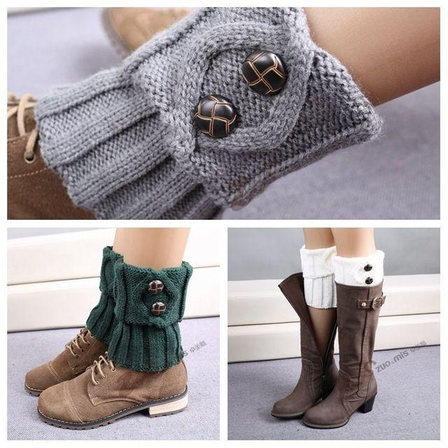 9 colores de punto calentadores de la pierna de mujer moda botón corto de arranque puños alta calidad polainas arranque calcetines calentadores de ganchillo