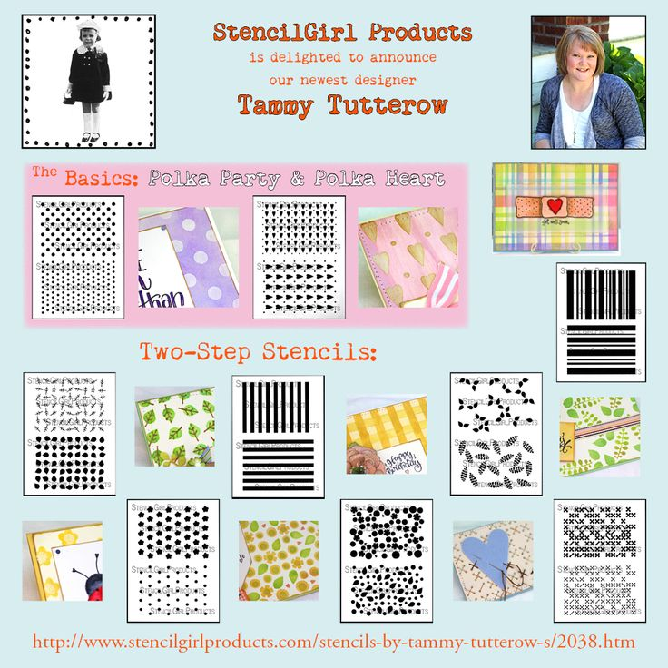NEW stencils by Tammy Tutterow for StencilGirl.  Create layered backgrounds for cards, tags, pages, journals, planners and more!  Basics, greenery, and sweet posies!