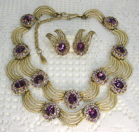 Coro Amethyst 2Tone Rhinestone Necklace by ...