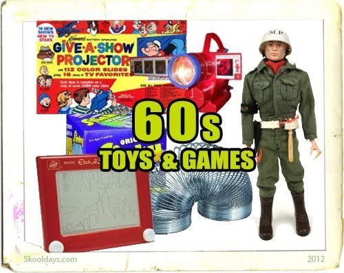 "Toys & Games in the 60s - Hasbro responded to Barbie with G.I. Joe, the world's first ""Action Figure"". NASA's high-profile space race inspired a constellation of new toys, with Major Matt Mason and Billy Blastoff leading the way. The Hoppity Hop bounced onto the scene, Nerf let kids play ball in the house, Hot Wheels took off, Super Balls soared, and the Easy-Bake Oven revolutionized the term ""playing house""."