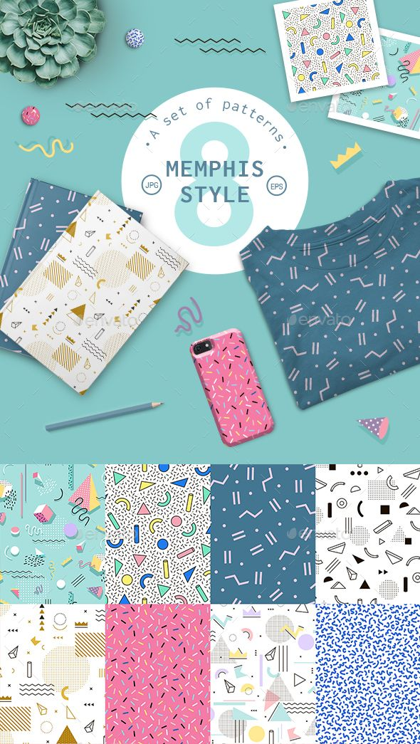 Geometric Pattern Memphis Style  #circle #confetti #cover • Click here to download ! http://graphicriver.net/item/geometric-pattern-memphis-style/15967289?s_rank=37&ref=pxcr