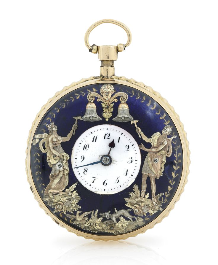 A YELLOW GOLD AND ENAMEL OPEN-FACED QUARTER REPEATING AUTOMATON WATCH CIRCA 1820.