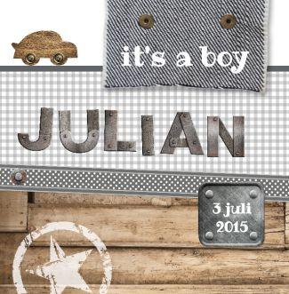 Geboortekaartje Julian   BlijKaartje.nl