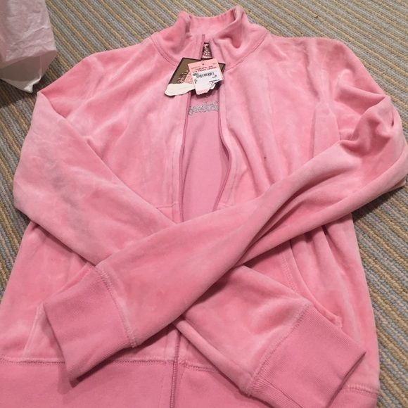 SALE!! Juicy pink velour jacket. NWT. Size small New pink Juicy jacket.  Velour with silver and black detail on the back. NWT Juicy Couture Jackets & Coats