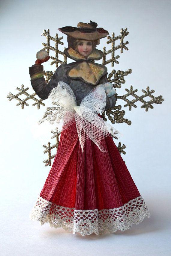 Gardienne d'étagère décorative Victorian Beauty flocon de neige